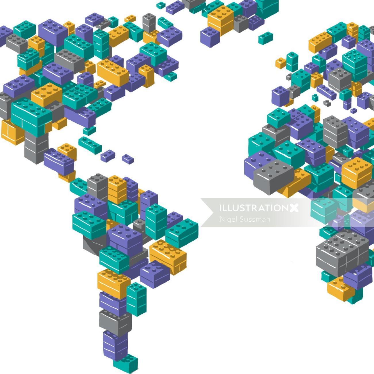 Isometric Brick World Map Mural Illustration