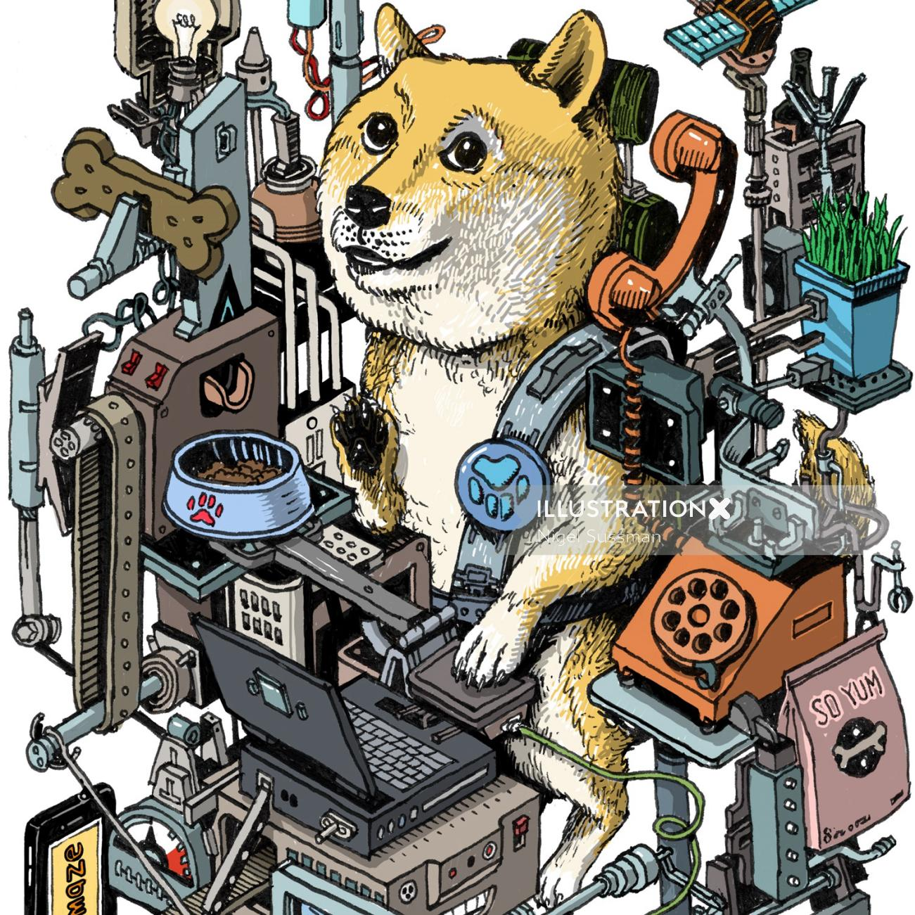 Isometric machine with a dog on the phone
