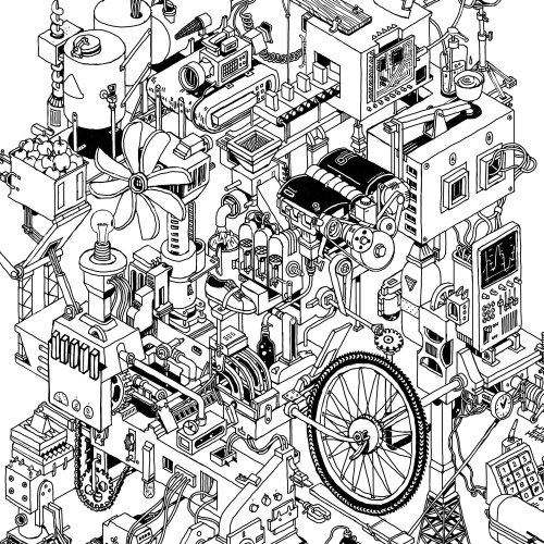 isometric line-drawing of a large crazy machine