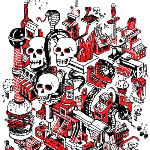 Skull & Cobra Isometric T-Shirt Design