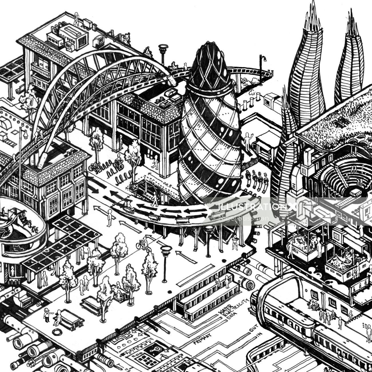 isometric landmarks and architecture