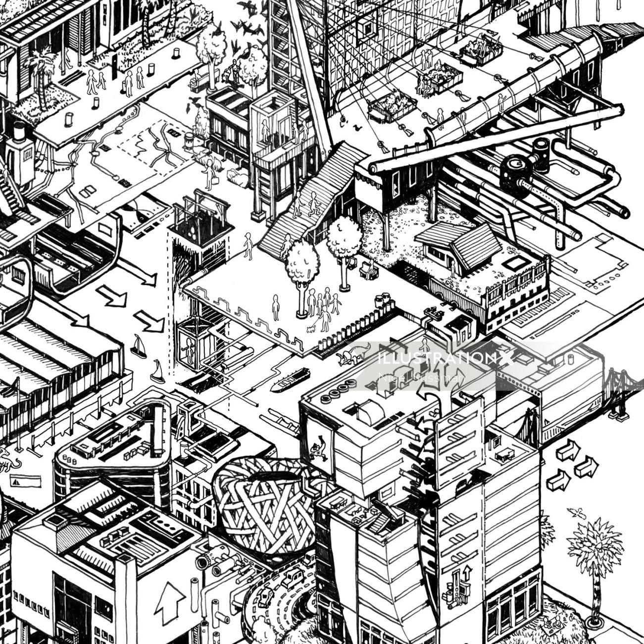 isometric fantasy architecture