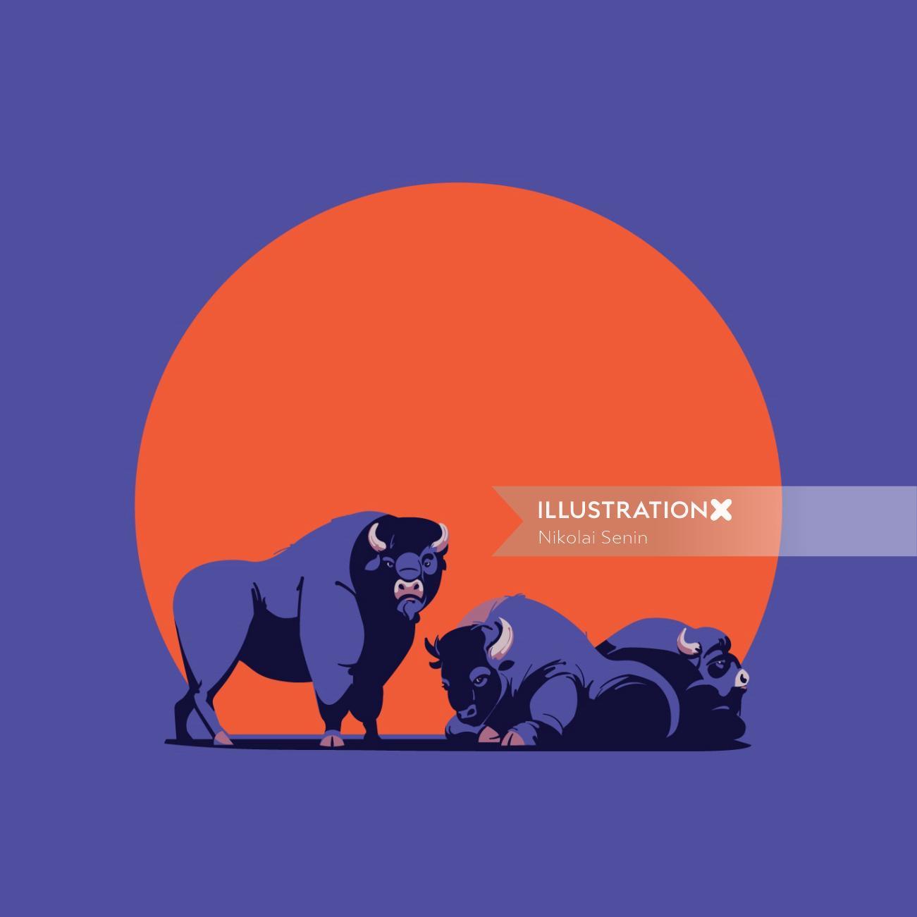 American bisons digital painting