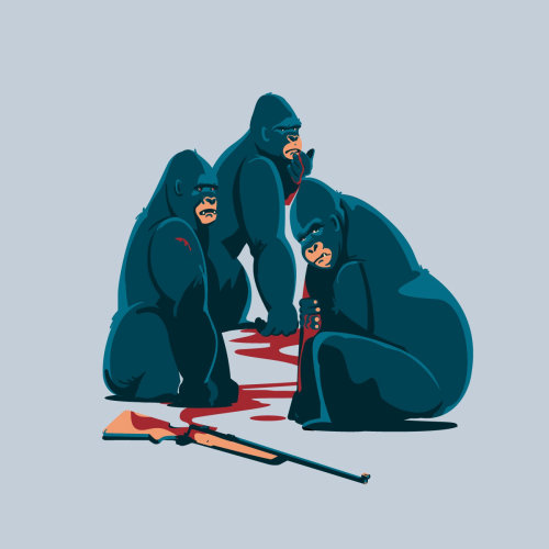 Editorial illustration of hunting the gorillas