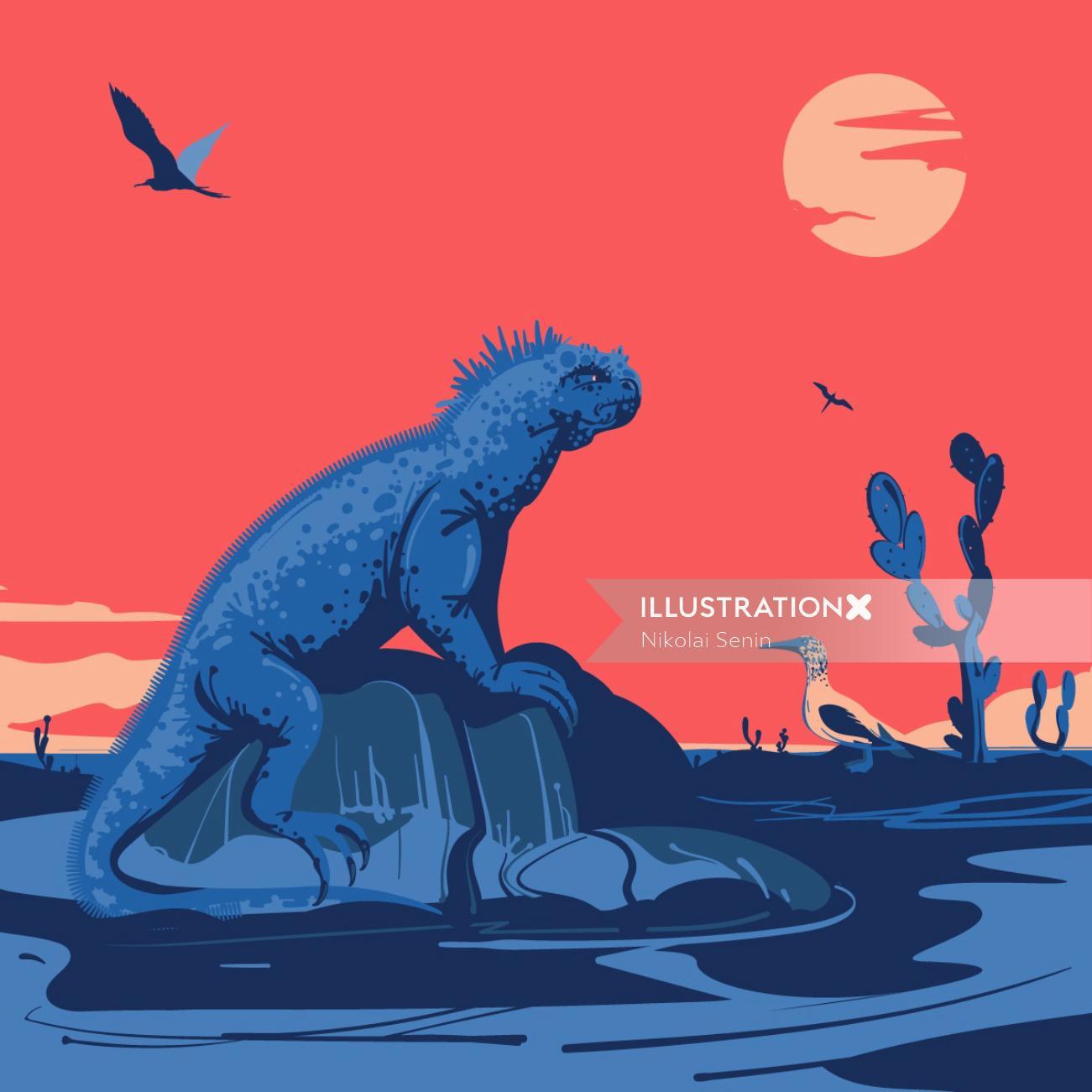 Marine Iguana digital painting