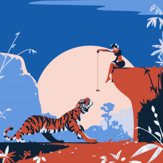 playing, tiger, girl, vector, sunset, animal, beauty, blue, sky, cat, wild