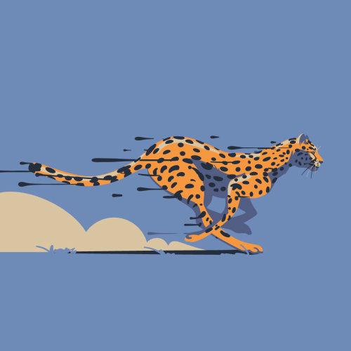 Cheetah running full speed graphic design