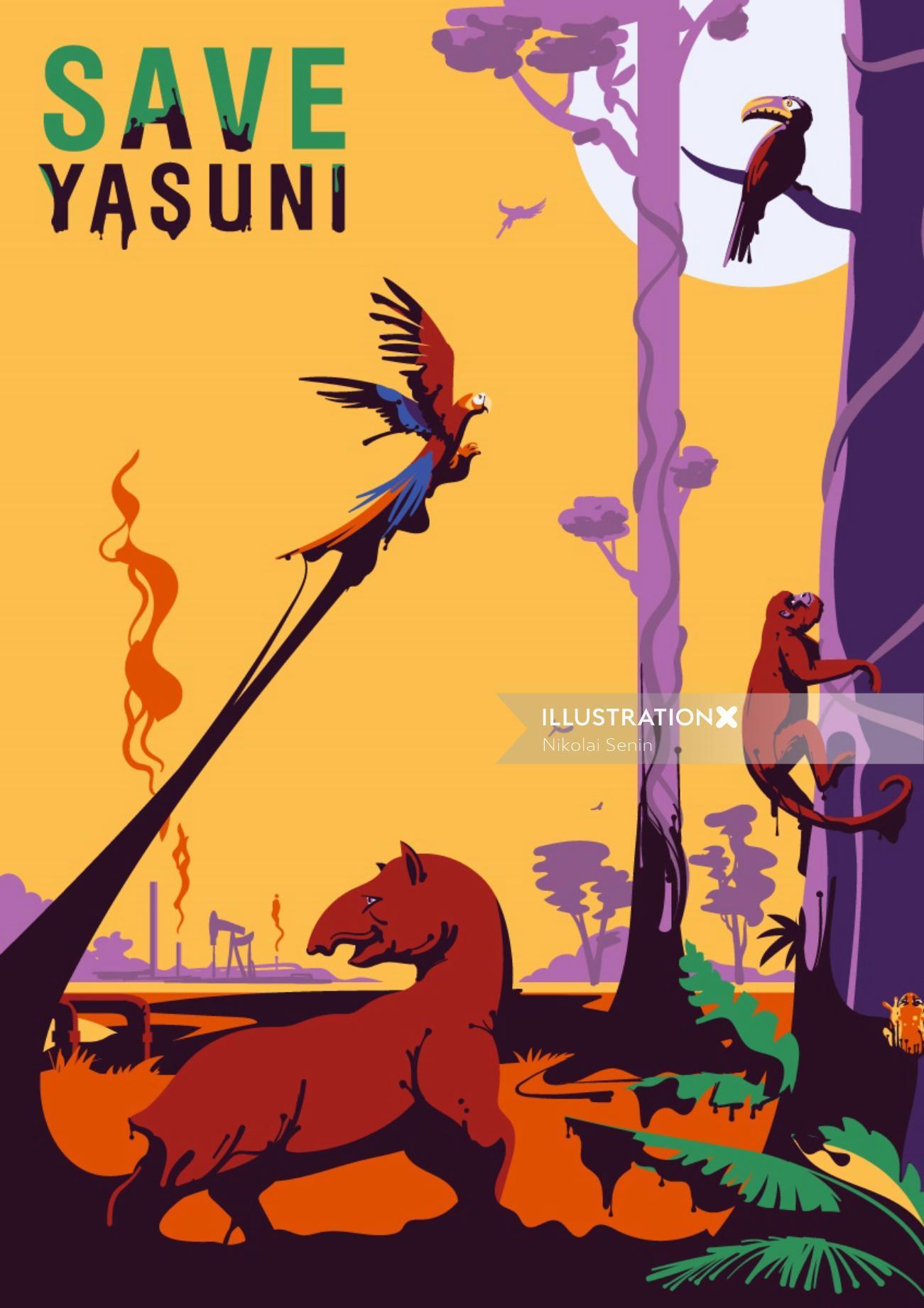 Cover poster design for Save Yasuni National Park