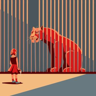 child, client, girl, tiger, zoo, prison, cage, social, human, sadness,