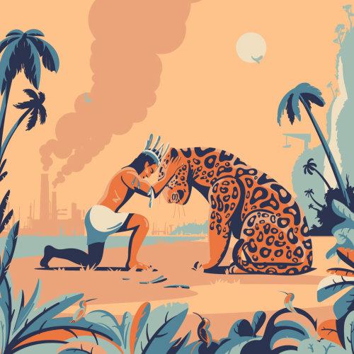 Human and animals friendship artwork by Nikolai Senin