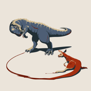 generation, trex, tyrannosaurus, kangaroo, fight, irony, social, art, vector