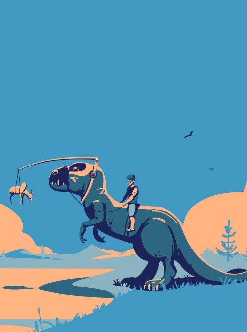 Boy riding on a dinosaur illustration