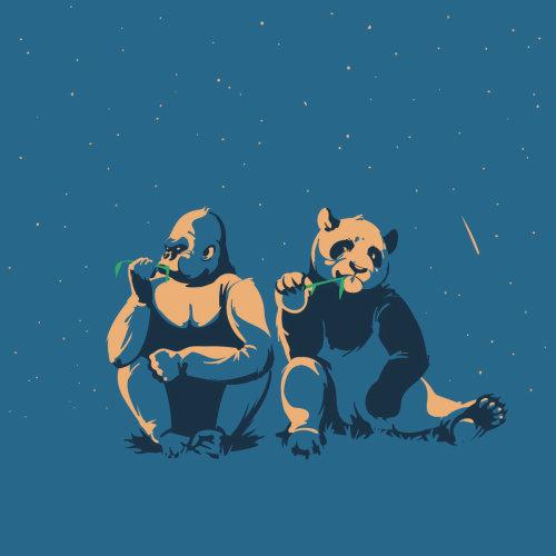 大猩猩和熊猫的数字绘画