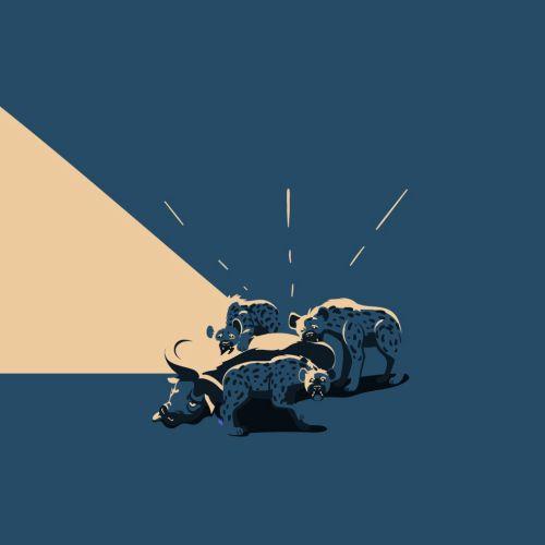 Hyenas wildlife illustration by Nikolai Senin