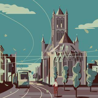 Ghent city in Belgium graphic design