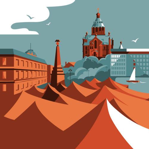 芬兰赫尔辛基市的建筑插图