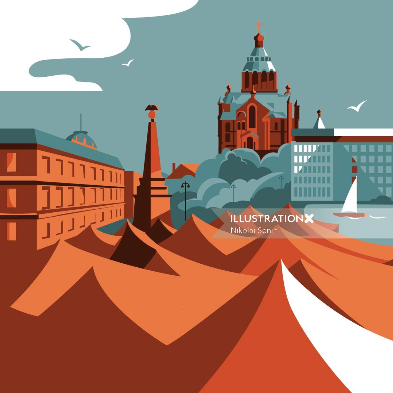 Architecture illustration of Helsinki city in Finland