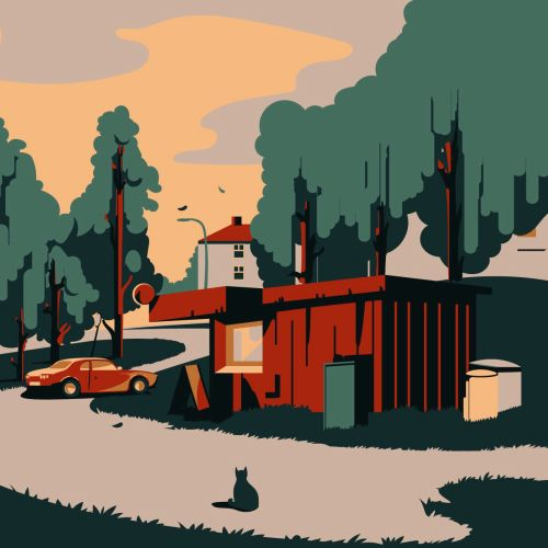 Lahti city in Finland graphic illustration