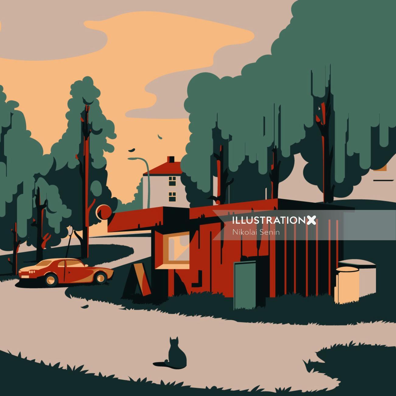 Lahti city in Finland graphic illustration