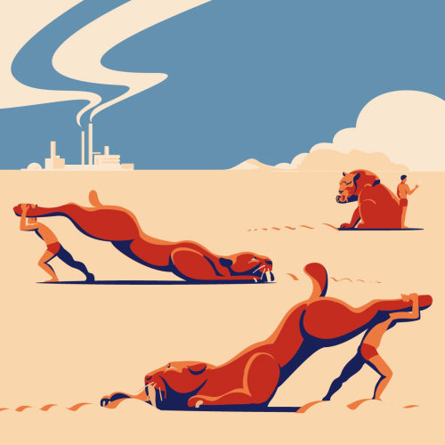 Graphic design of humans hunting animals