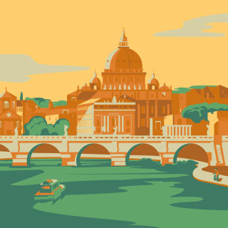 rome, italy, city, vatican, river, europe, architecture, bridge, green, boat, tourism