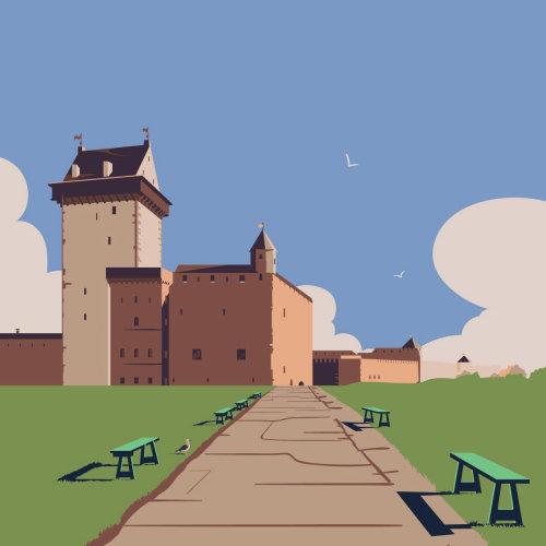 Narva castle graphic illustration