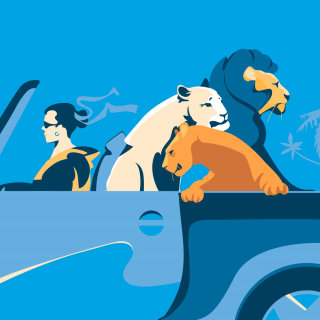 cats, lions, girl, car, sky, sunny, poster, friendly, travel