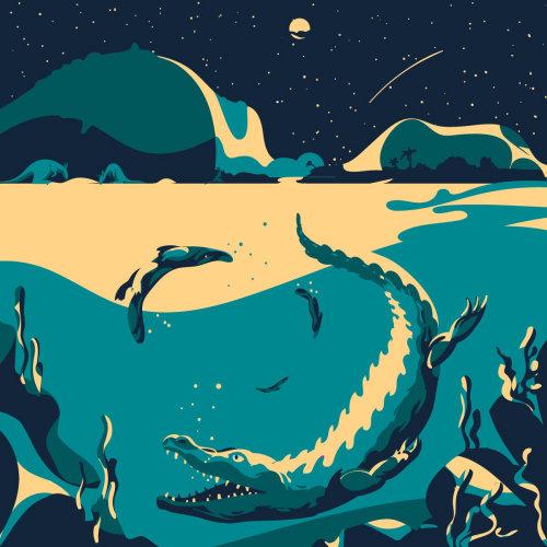 水下鳄鱼数字绘画