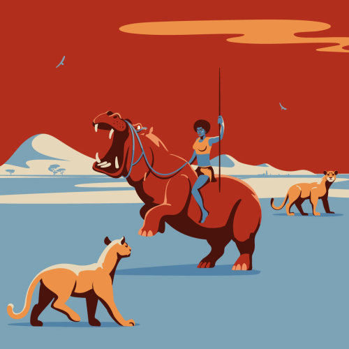 Graphic design of girl hunting the animals