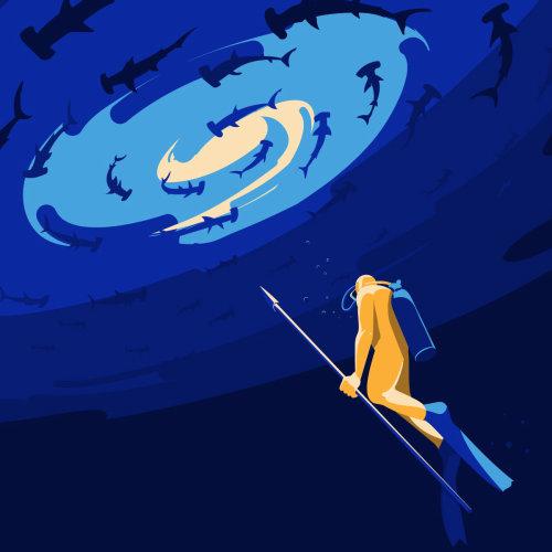 Digital painting of man diving underwater
