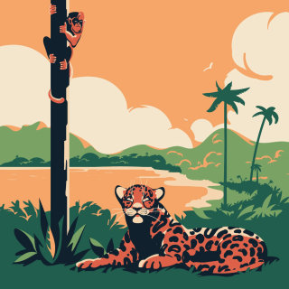 waiting, jaguar, cat, monkey, red howler, animals, hunting, pantanal, Amazon, south, america, vector
