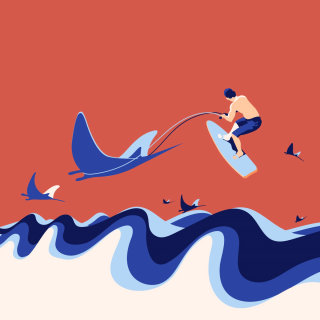 rays, man, surfing, ocean, waves, vector