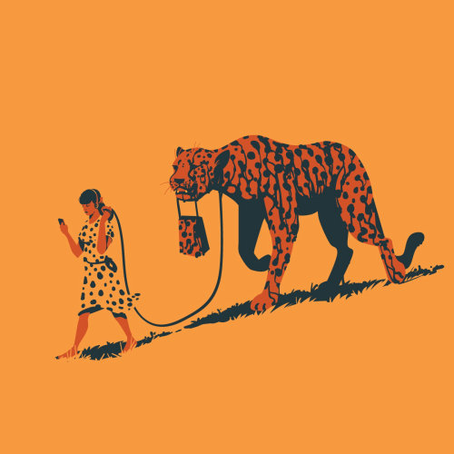 Graphic design of girl walking with cheetah