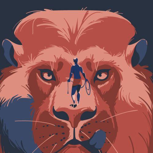 Man hunting a lion artwork