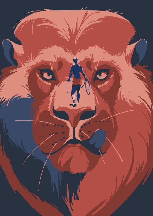 男子狩猎狮子艺术品