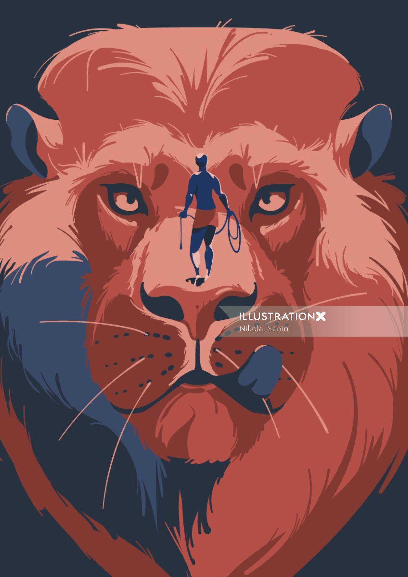 Man hunting a lion artwork