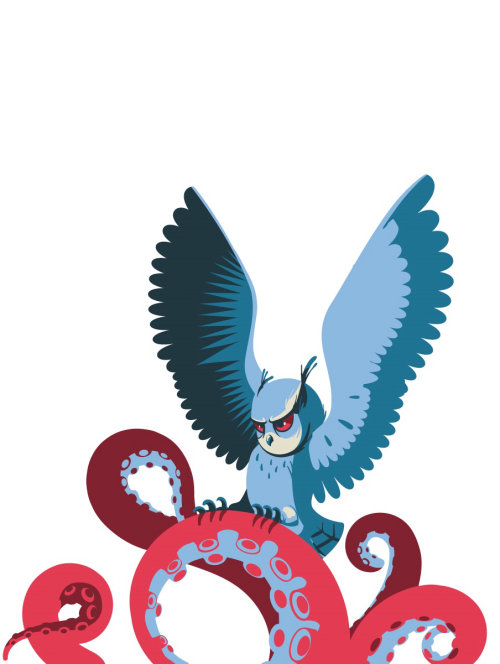 Graphic design of Owl hunting octopus