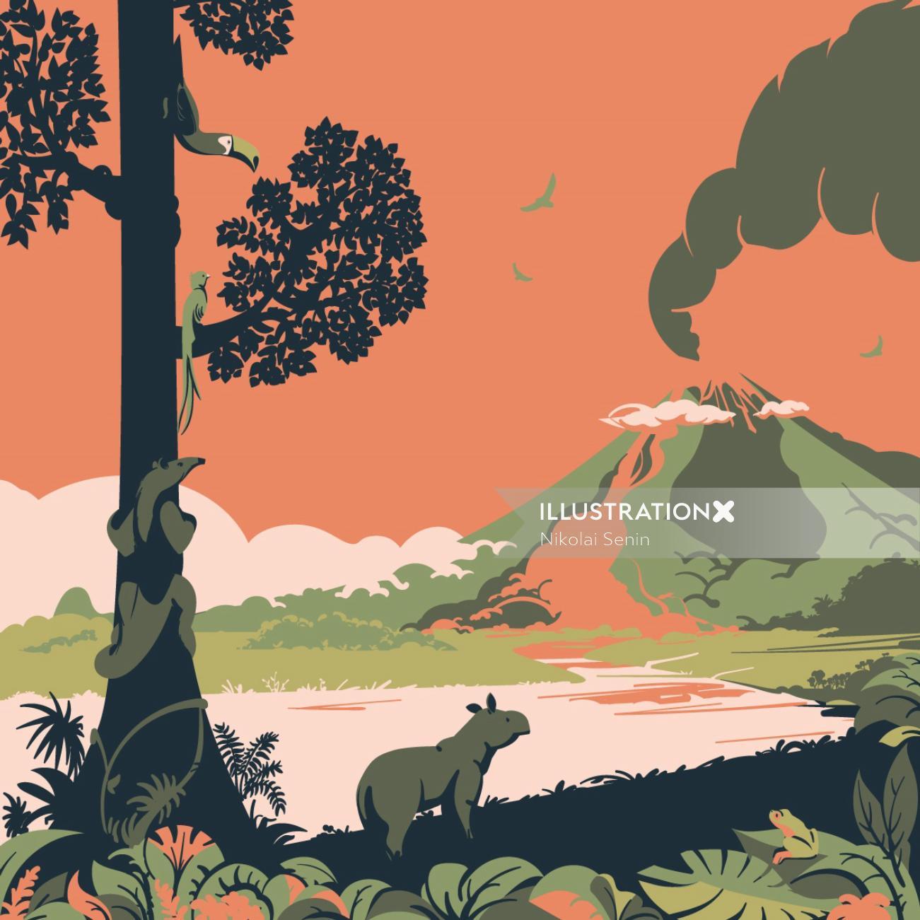 Costa Rica Arenal Volcano Illustration By Nikolai Senin