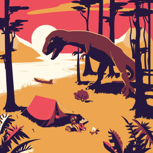 Dinosaur attacking camp in forest
