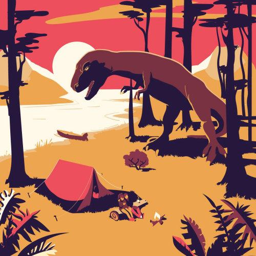 Dinosaure attaquant le camp dans la forêt