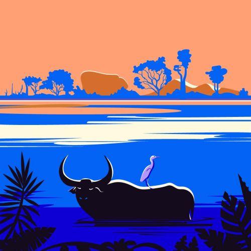 Nature life in Sri Lanka digital painting
