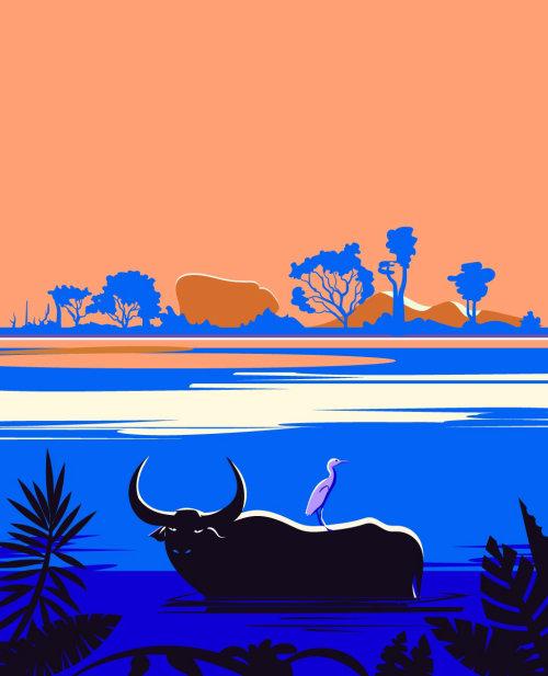 斯里兰卡自然生活数字油画