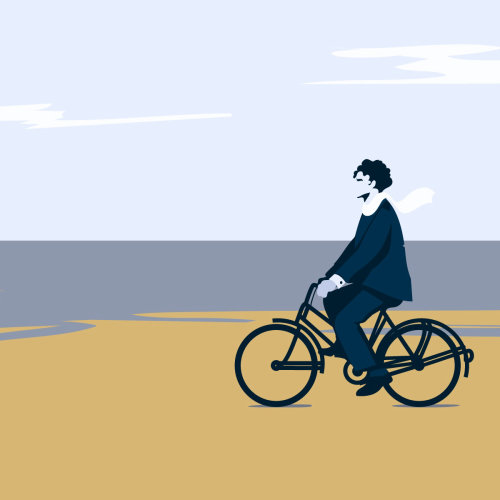 Homme, équitation, bicyclette, plage