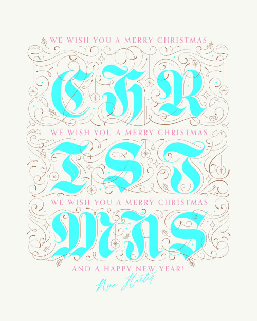 Typographic art of Christmas Wishes