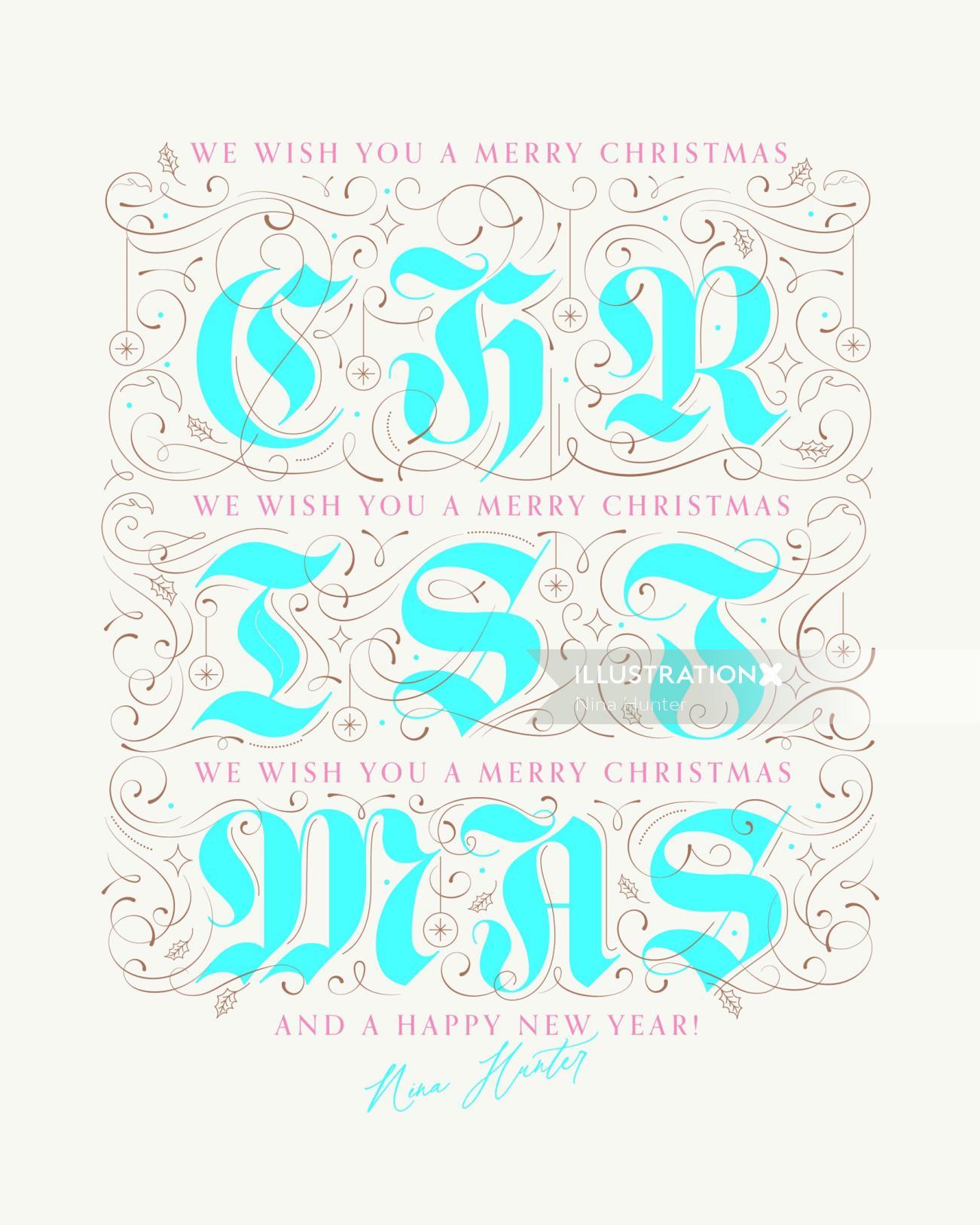 Typographic art of Christmas Wishes