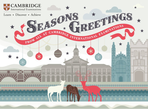 Graphic design of Cambridge University Christmas Card