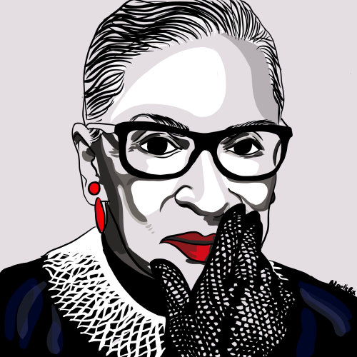 Portrait illustration of Notorious RBG