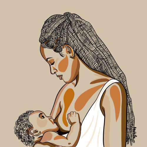 Digital painting of mother breastfeeding