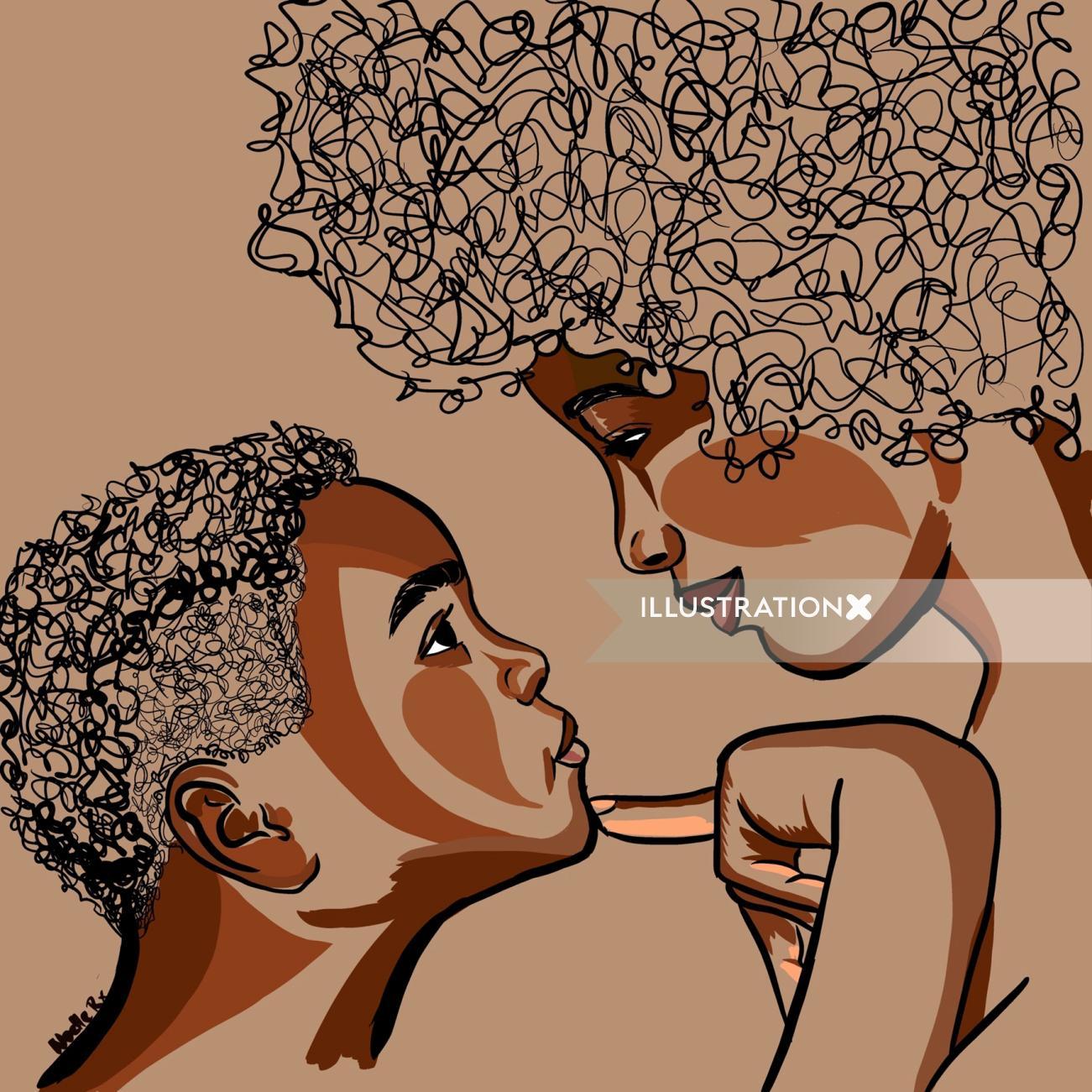 Mom and my portrait illustration