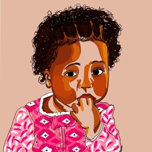 Cute baby girl portrait illustration by NoelleRx